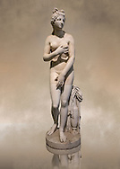Statue of Aphrodite, a 2nd century Roman Copy. This sculpture depicts Aphrodite in the typical pose known as the Modest Aphrodite style or Dresden-Capitoline type and is a copy of a lost 4th century BC Aphrodite of Cnidos sculpture by Athenian sculpture Praxiteles. Inv 6283 - Farnese Collection. Naples National Archaeological Museum, Italy .<br /> <br /> If you prefer to buy from our ALAMY STOCK LIBRARY page at https://www.alamy.com/portfolio/paul-williams-funkystock/greco-roman-sculptures.html . Type -    Naples    - into LOWER SEARCH WITHIN GALLERY box - Refine search by adding a subject, place, background colour, museum etc.<br /> <br /> Visit our ROMAN WORLD PHOTO COLLECTIONS for more photos to download or buy as wall art prints https://funkystock.photoshelter.com/gallery-collection/The-Romans-Art-Artefacts-Antiquities-Historic-Sites-Pictures-Images/C0000r2uLJJo9_s0