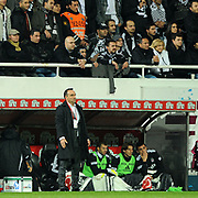 Besiktas's coach Carlos CARVALHAL (F) during their Turkish Superleague Derby match Besiktas between Fenerbahce at the Inonu Stadium at Dolmabahce in Istanbul Turkey on Thursday, 207 October 2011. Photo by TURKPIX