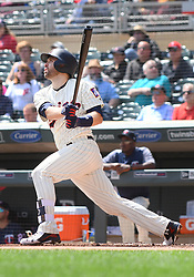May 2, 2018 - Minneapolis, MN, U.S. - MINNEAPOLIS, MN - MAY 02: Minnesota Twins Second base Brian Dozier (2) hits a fly ball during a MLB game between the Minnesota Twins and Toronto Blue Jays on May 2, 2018 at Target Field in Minneapolis, MN.The Twins defeated the Blue Jays 4-0.(Photo by Nick Wosika/Icon Sportswire) (Credit Image: © Nick Wosika/Icon SMI via ZUMA Press)