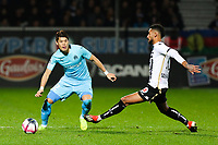 Hiroki Sakai of Marseille ansd Angelo Fulgini of Angers during the Ligue 1 match between Angers and Marseille at Stade Jean Bouin on December 22, 2018 in Angers, France. (Photo by Eddy Lemaistre/Icon Sport)