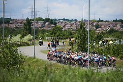 The peloton roll by at Stage 2 of 2019 OVO Women's Tour, a 62.5 km road race starting and finishing in the Kent Cyclopark in Gravesend, United Kingdom on June 11, 2019. Photo by Sean Robinson/velofocus.com