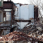 Large house under demolition near 34th and Southwest Trafficway in Kansas City, MO in March 2012.