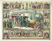 Martin Luther (1483-1546) German Protestant reformer burning the Papal Bull excommunicating him, Wittenberg, 1520. Surrounding vignettes show episodes in his life and other heroes of the Reformation.  Coloured lithograph.