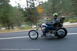 Bill Buckingham riding his 1923 Harley-Davidson J model custom chopper (that won top honors at Born Free 6) on this 39 degree (27 degree windchill) morning during stage 14 - (284 miles) of the Motorcycle Cannonball Cross-Country Endurance Run, which on this day ran from Meridian to Lewiston, Idaho, USA. Friday, September 19, 2014.  Photography ©2014 Michael Lichter.