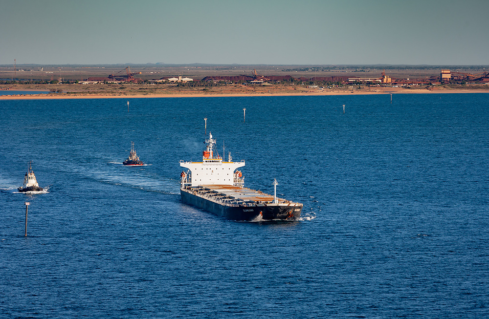 Iron Ore carrier leaves Port Hedland, Western Australia