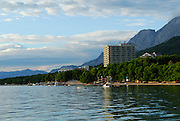View from the sea of the northern part of Makarska, with the Biokovo National Park, part of the Dinaric Alps, in the background. Makarska, Croatia