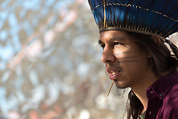 7 December 2019, Madrid, Spain: Tupá Mirim Joyan, a Guaraní man from Sao Paulo brings testimony of his indigenous roots and culture, as people of faith gather in a 'Prayer for the Rainforest' as part of the Cumbre Social por el Clima, on the fringes of COP25 in Madrid, where faith-based organizations continue to urge decision-makers to take action for climate justice.