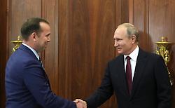 October 2, 2018 - Moscow, Russia - October 2, 2018. - Russia, Moscow. - Russian President Vladimir Putin and Acting Governor of the Kurgan Region Vadim Shumkov (left) during a meeting. (Credit Image: © face to face via ZUMA Press)