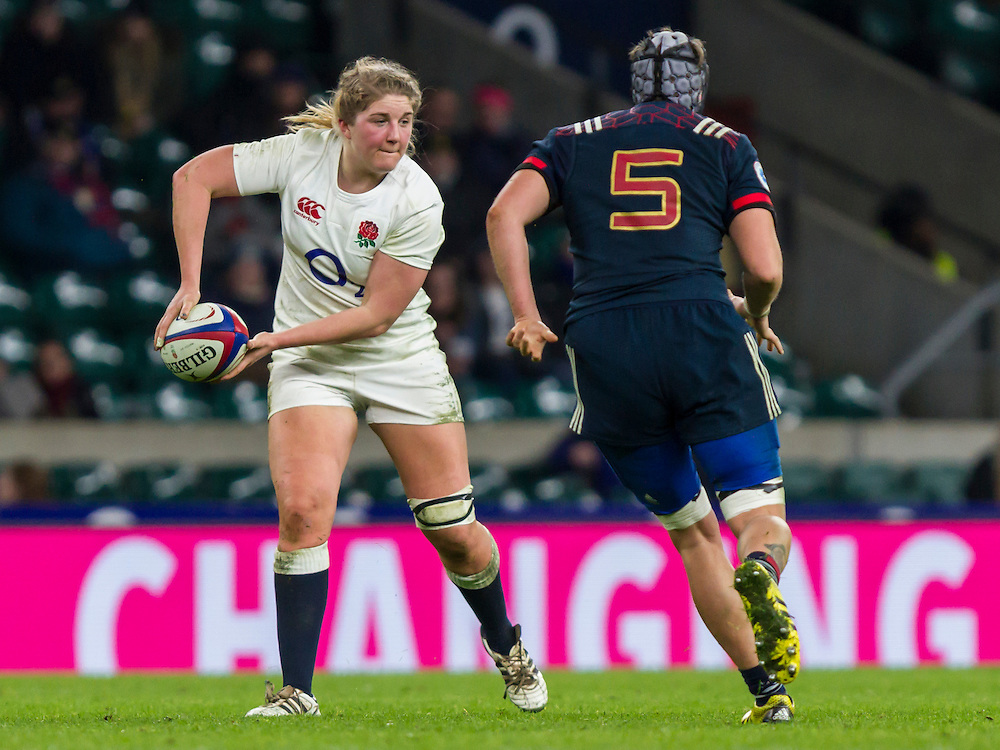 Poppy Cleall in action, England Women v France Women in a 6 Nations match at Twickenham Stadium, London, England, on 4th February 2017 Final Score 26-13.