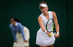 July 1, 2019 - London, GREAT BRITAIN - Marketa Vondrousova of the Czech Republic in action during the first round of the 2019 Wimbledon Championships Grand Slam Tennis Tournament against Madison Brengle of the United States (Credit Image: © AFP7 via ZUMA Wire)