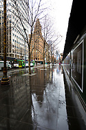 A view of a wet Swanston Street during COVID-19 in Melbourne, Australia. Victoria has recorded 14 COVID related deaths including a 20 year old, marking the youngest to die from Coronavirus in Australia, and an additional 372 new cases overnight. (Photo by Dave Hewison/Speed Media)