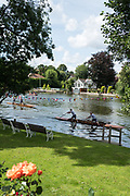 """Maidenhead, United Kingdom. """"Doubles"""", racing on the return leg of the course, """"Thames Punting Club Regatta"""", Bray Reach.<br />  Sunday  06/08/2017<br /> <br /> [Mandatory Credit. Peter SPURRIER Intersport Images}.<br /> <br /> LEICA Q (Typ 116) 28mm  f2.8   1/1600 /sec    100 ISO River Thames, .......... Summer, Sport, Sunny, Bright, Blue Skies, Skilful,"""