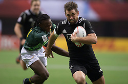 March 13, 2016 - Vancouver, BC, Canada - New Zealand's Kurt Baker, right, runs past South Africa's Rosko Specman to score a try during World Rugby Sevens Series' Canada Sevens Cup final action, in Vancouver, B.C., on Sunday March 13, 2016. THE CANADIAN PRESS/Darryl Dyck (Credit Image: © Darryl Dyck/The Canadian Press via ZUMA Press)