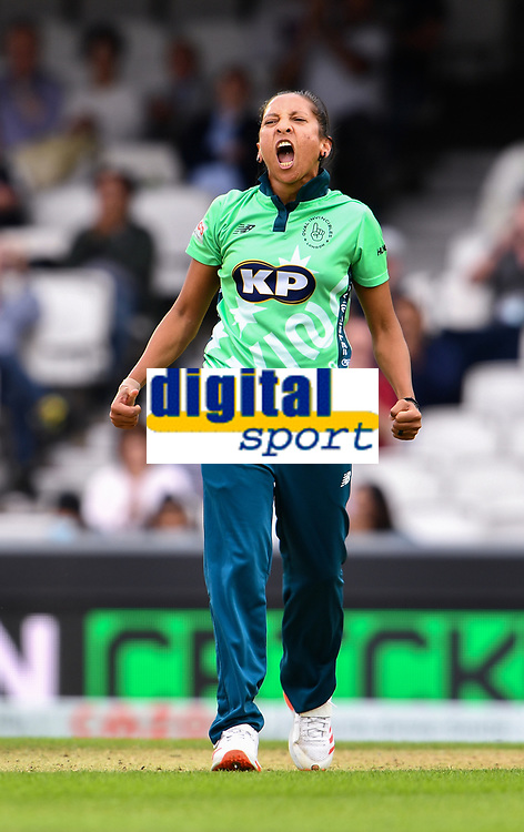 Cricket - 2021 Inaugural The Hundred: Women - The Eliminator -  Oval Invincibles vs Birmingham Phoenix - The Kia Oval - Friday 20th August 2021<br /> <br /> Oval Invincibles' Shabnim Ismail celebrates taking the wicket of Birmingham Phoenix's Issy Wong.<br /> <br /> COLORSPORT/Ashley Western