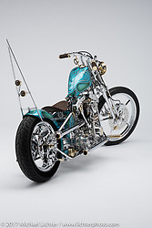 Dilseacht (Loyalty), a blue and green custom shovelhead chopper built by Tried and True Garage of Hamilton, OH. Photographed by Michael Lichter during the Easyriders Bike Show in Columbus, OH on February 11, 2017. ©2017 Michael Lichter.