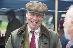 © Licensed to London News Pictures. 26/12/2018. Chiddingstone, UK.Nigel Farage, Old Surrey Burstow and West Kent Boxing day Hunt meet at Chiddingstone Castle,Chiddingstone. Photo credit: Grant Falvey/LNP