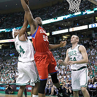 26 May 2012: Philadelphia Sixers power forward Lavoy Allen (50) vies for the rebound with Boston Celtics small forward Paul Pierce (34) during the Boston Celtics 85-75 victory over the Philadelphia Sixer, in Game 7 of the Eastern Conference semifinals playoff series, at the TD Banknorth Garden, Boston, Massachusetts, USA.