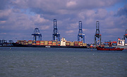 A728HB Large cranes and container ships Port of Felixstowe Suffolk England