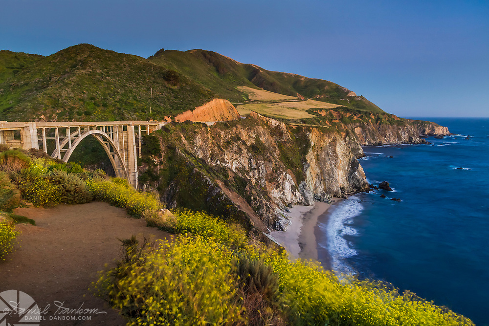 Bixby Bridge looking south to Hurricane Point, at dusk on the Big Sur Coast, California Highway 1