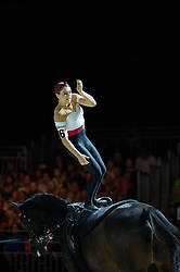 Elizabeth Ioannou, (USA), Jarl, Lasse Kristensen - Individuals Women Final Vaulting - Alltech FEI World Equestrian Games™ 2014 - Normandy, France.<br /> © Hippo Foto Team - Jon Stroud<br /> 05/09/2014