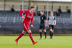 KIRKBY, ENGLAND - Saturday, October 31, 2020: Liverpool's Layton Stewart celebrates after scoring the fourth goal during the Under-18 Premier League match between Liverpool FC Under-18's and Newcastle United FC Under-18's at the Liverpool Academy. Liverpool won 4-1. (Pic by David Rawcliffe/Propaganda)