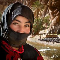 Berber women herding sheep in Todra Gorge, Morocco