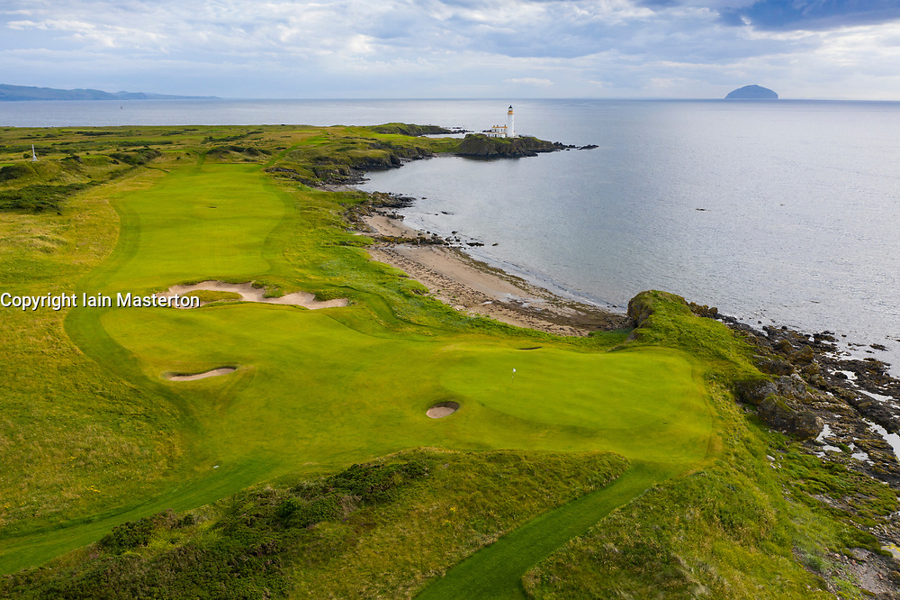 Aerial view of new 10th hole Dinna Fouter par 5 on Ailsa golf course at Trump Turnberry resort in Ayrshire, Scotland, UK