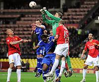 v.l. Wes Brown, John Terry, Didier Drogba, Torwart Edwin Van der Sar, Nemanja Vidic<br /> Champions League Finale Manchester United FC - FC Chelsea <br /> <br /> Norway onlu