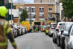 © Licensed to London News Pictures. 08/07/2020.  London UK: Emergency services at the scene of a collapsed crane at a building site in Watts Grove, Tower Hamlets, East London , Photo credit: Steve Poston/LNP