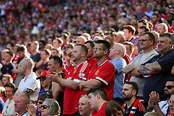Manchester United fans look frustrated - Rogan Thomson/JMP - 07/08/2016 - FOOTBALL - Wembley Stadium - London, England - Leicester City v Manchester United - The FA Community Shield.