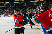 KELOWNA, BC - NOVEMBER 1:  Mark Liwiski #9 of the Kelowna Rockets celebrates a goal with fist bumps along the bnech against the Prince George Cougars at Prospera Place on November 1, 2019 in Kelowna, Canada. (Photo by Marissa Baecker/Shoot the Breeze)