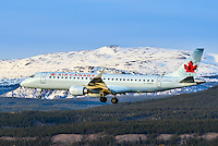 An Air Canada Embraer 190 on final approach into Whitehorse International Airport (CYXY)