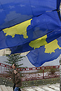 A general overview of the flags of Kosovo aligned across the streets of the capital city Prishtina two day prior to the first anniversary of the declaration of independence of Kosovo, Feb 15, 2009. (Photo/ Vudi Xhymshiti)