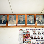 Pictures of the Pathet Lao leaders on display at the Welcome Center at the Pathet Lao caves of Vieng Xai. The Pathet Lao Caves of Vieng Xai in Houaphanh Province in northeastern Laos. It was in these natural caves deep in karsts that the Pathet Lao leadership avoided constant American bombing raids during the Vietnam War.