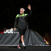 Tennis legend John McEnroe is seen during introductions of the PowerShares Tennis Series event at the Amway Center on January 5, 2017 in Orlando, Florida. (Alex Menendez via AP)