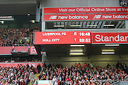 a General view of the score board during the last minute as the match score stands at 5-1 to Liverpool. . Premier League match, Liverpool v Hull City at the Anfield stadium in Liverpool, Merseyside on Saturday 24th September 2016.<br /> pic by Chris Stading, Andrew Orchard sports photography.