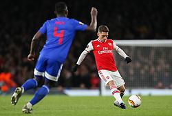 Lucas Torreira of Arsenal passes the ball - Mandatory by-line: Arron Gent/JMP - 27/02/2020 - FOOTBALL - Emirates Stadium - London, England - Arsenal v Olympiacos - UEFA Europa League Round of 32 second leg