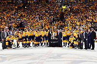 NASHVILLE, TN - MAY 22:  The Nashville Predators celebrate with the Clarence S. Campbell Bowl after defeating the Anaheim Ducks 6 to 3 in Game Six of the Western Conference Final during the 2017 Stanley Cup Playoffs at Bridgestone Arena on May 22, 2017 in Nashville, Tennessee.  (Photo by Frederick Breedon/Getty Images)