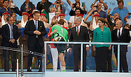 Germany's Manuel Neuer gets a hug from German Chancellor Angela Merkel during the 2014 FIFA World Cup Final match at Maracana Stadium, Rio de Janeiro<br /> Picture by Andrew Tobin/Focus Images Ltd +44 7710 761829<br /> 13/07/2014