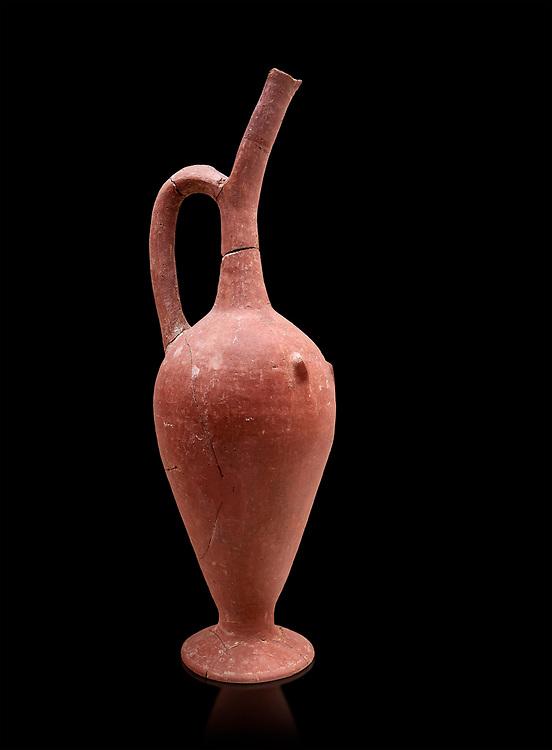 Hittite spouted pitcher, Hittite capital Hattusa, Hittite  Middle  Kingdom 1650-1450 BC, Bogazkale archaeological Museum, Turkey. Balck grey background