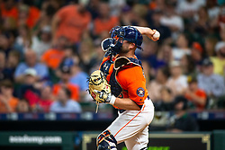 April 13, 2018 - Houston, TX, U.S. - HOUSTON, TX - APRIL 13: Houston Astros catcher Brian McCann (16) throws a warm-up throw to second base in the sixth inning during an MLB game between the Houston Astros and the Texas Rangers and April 13, 2018 at Minute Maid Park in Houston, TX.  (Photo by Juan DeLeon/Icon Sportswire) (Credit Image: © Juan Deleon/Icon SMI via ZUMA Press)