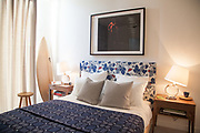 A bedroom in one of the show apartments at the Television Centre Pavilion, Shepherd's Bush, London, UK CREDIT: Vanessa Berberian for The Wall Street Journal. TVCENTRE