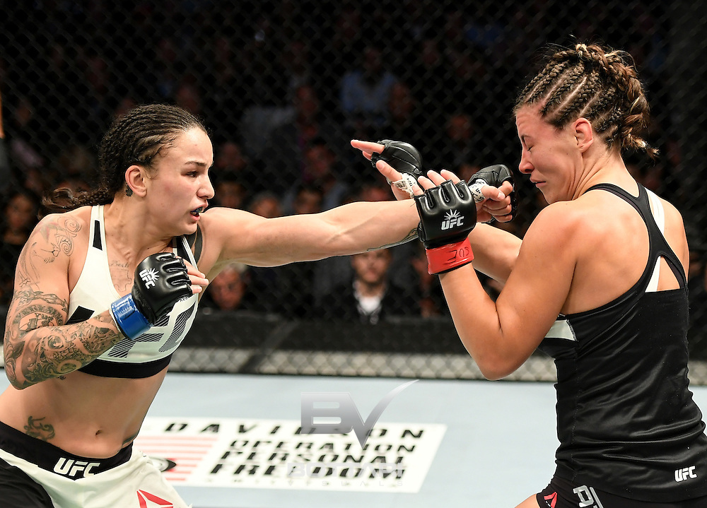 NEW YORK, NY - NOVEMBER 12:  Miesha Tate of the United States (right) fights against Raquel Pennington of the United States in their women's bantamweight bout during the UFC 205 event at Madison Square Garden on November 12, 2016 in New York City.  (Photo by Jeff Bottari/Zuffa LLC/Zuffa LLC via Getty Images)