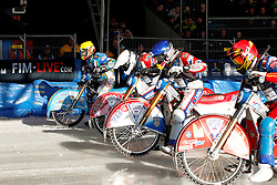 13.03.2016, Assen, BEL, FIM Eisspeedway Gladiators, Assen, im Bild Der Start von Guenther Bauer (GER) // during the Astana Expo FIM Ice Speedway Gladiators World Championship in Assen, Belgium on 2016/03/13. EXPA Pictures © 2016, PhotoCredit: EXPA/ Eibner-Pressefoto/ Stiefel<br /> <br /> *****ATTENTION - OUT of GER*****