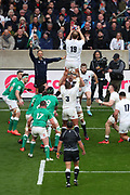 Joe Launchbury of England catches the ball in a line out during the Six Nations international rugby union match between England and Ireland at Twickenham stadium, Sunday, Feb. 23, 2020, in London, United Kingdom.  England won the match 24-12. (Mitchell Gunn/ESPA-Images-Image of Sport)