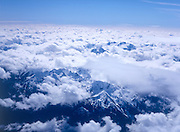 Stratocumulus clouds over mountain peaks