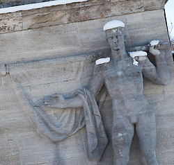 03.02.2011, Garmisch Partenkirchen, GER, FIS Alpine World Championships Garmisch Partenkirchen, Vorberichte, im Bild Preview images for the 2011 Alpine skiing World Championships. Stone carving that has had the nazi era isignia removed, on the entrance to the 1936 Winter Olympic Games Stadium, which will be used for the slalom races, EXPA Pictures © 2011, PhotoCredit: EXPA/ M. Gunn