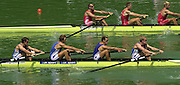 11/07/03/03 .2003 FISA Rowing World Cup - Lucerne.- Switzerland.Heat of the M4-GBR M4- {centre] Bow Stephan William. Josh West, Toby Garbutt and Rick Dunn. [Mandatory Credit: Peter Spurrier:intersport Images]