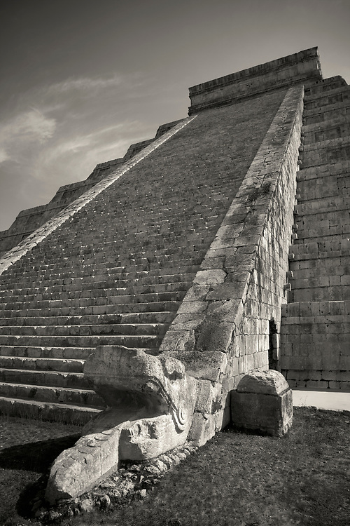 """Black and white photo of El Castillo, also known as the Temple of Kukulcan, the """"World Wonder"""" in Chichen Itza archaeological site, Mexico"""