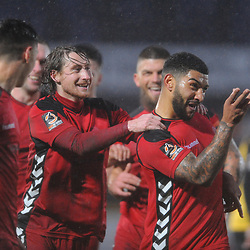 TELFORD COPYRIGHT MIKE SHERIDAN 26/1/2019 - GOAL. Telford players celebrate with Ellis Deeney (right) after he scores a goal to make it 4-0 during the Vanarama Conference North fixture between AFC Telford United and Southport at the Merseyrail Community Stadium